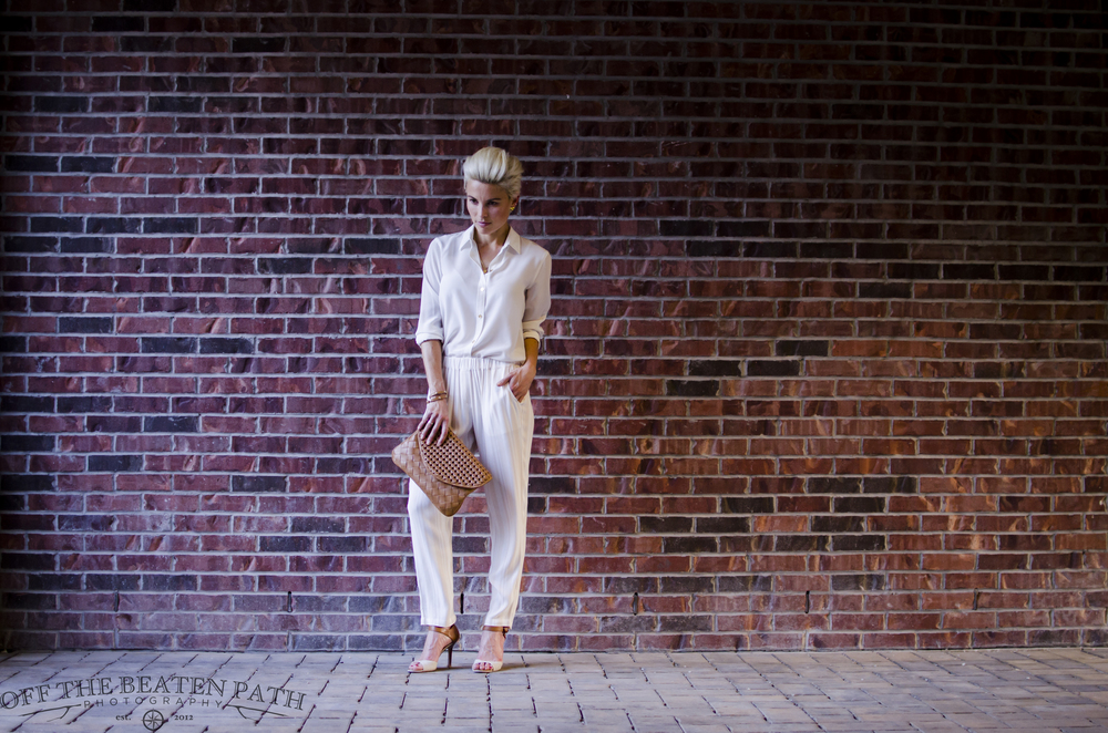 Images @otbp1973    Blouse from C Wonder/ Ella Moss Pants via Amy Kirchen Boutique/ Clutch from Urban Expressions / Shoes from BCBG Maxazaria/ Leather wrap Bracelet from Henri Bendel
