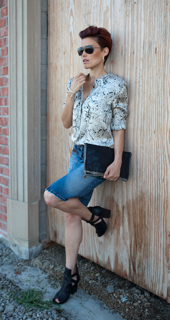 Images by Bello' Romance Photography Shirt by Equipment from Saks / Denim skirt from Elwood Australia / Boots from House of Harlow /  Clutch by Stella McCartney from Saks / Sunglasses from Ray Ban / Bangle and earrings from Suetables