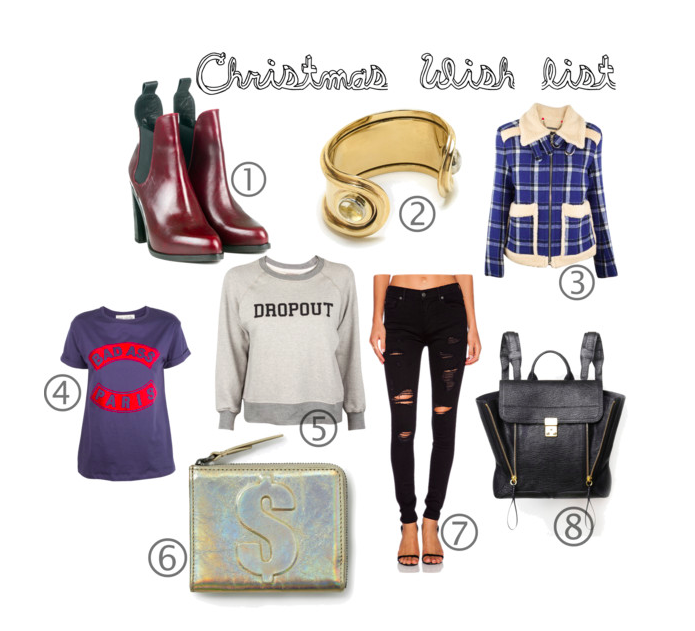 1. Rag and Bone Stanton Chelsea Boot, 2. Pamela Love Oracle Cuff, 3. Marc by Marc Jacobs Paddington Wool Jacket, 4. Etre Cecile Navy & Red Bad Ass Paris Flock Oversized Tee, 5. Mother the Square Dropout Sweat Shirt, 6. Phillip Lim Dollar Mini Zip Around Wallet, 7. True Religion High Rise Halle Skin NY, 8. Phillip Lim Black Pashil Backpack