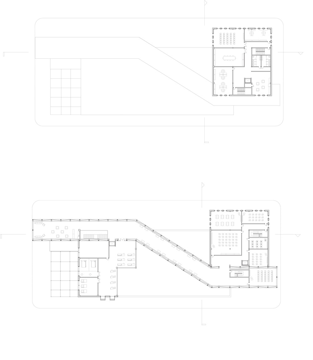 Plan of the third floor of the Library extension and the second floor through the social bridge and the mezzanine level of the big room