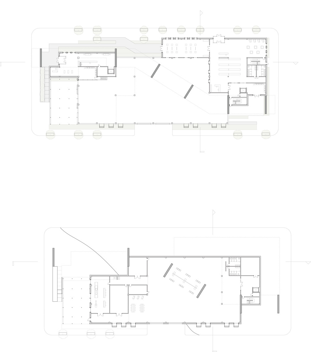 Plan of the first floor entrance of the maker center including the library entrance and the gallery space and the plan of the basement level of the big room