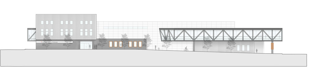 North Elevation of the maker center looking at the entrance and the bridge, the Carnegie library and the review space from Fifth Avenue