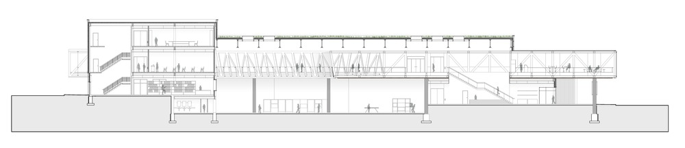 Horizontal section cutting through the library, the bridge, the big room and the lobby