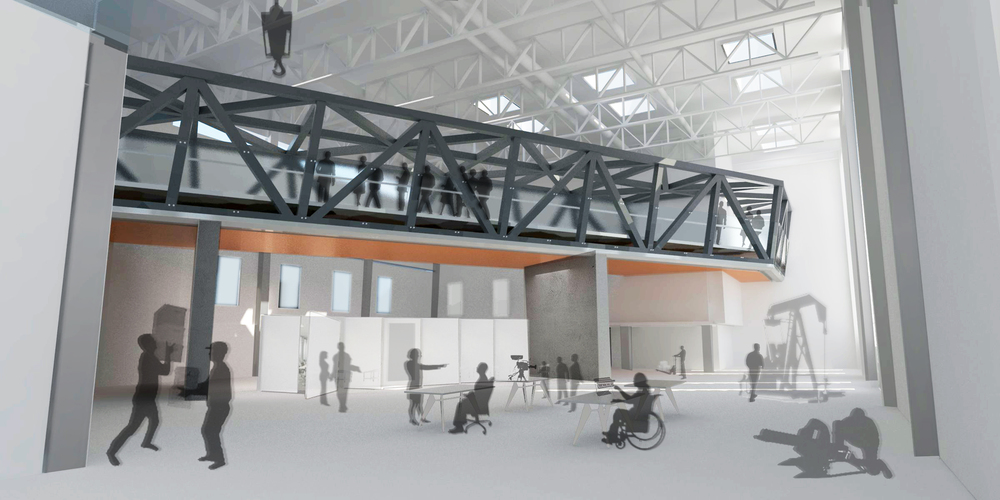Render showing the inside of the big room and its visual interaction with the social bridge