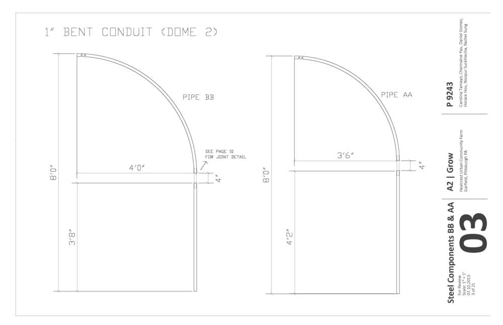 Construction document specifying the bent diameter of the conduits