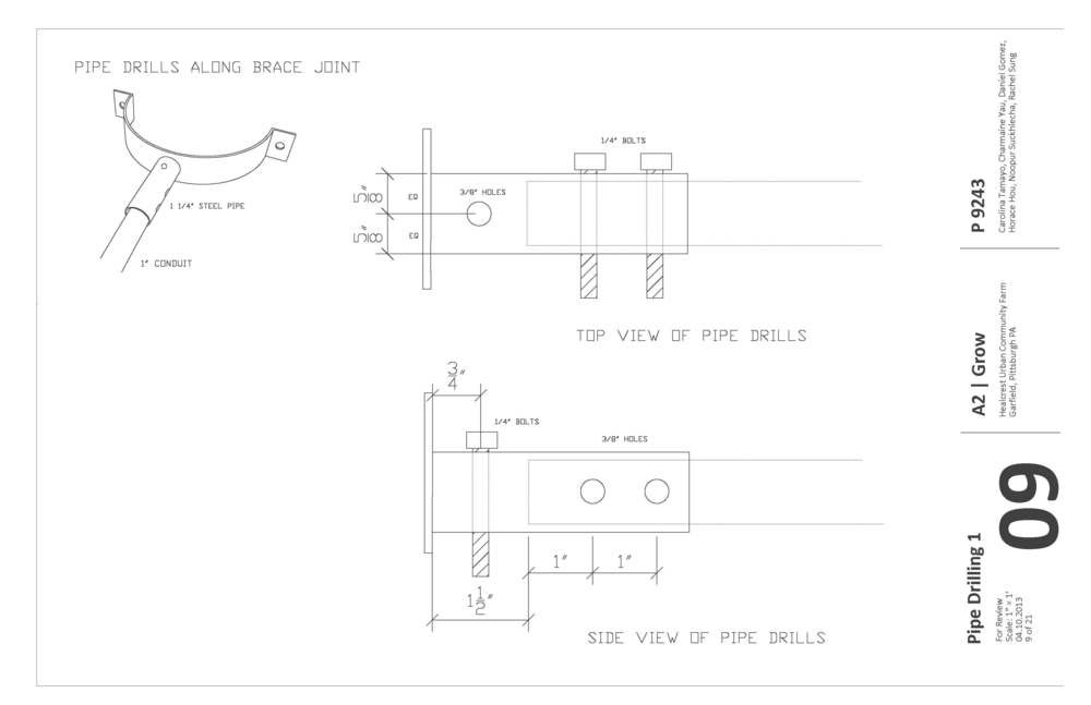 Construction documents showing bolt and holes sizing