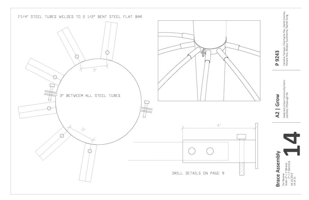Construction document showing the brace assembly