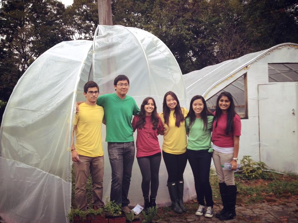 Photo of the team after on-site completion of the Hoop House (Me-right most)