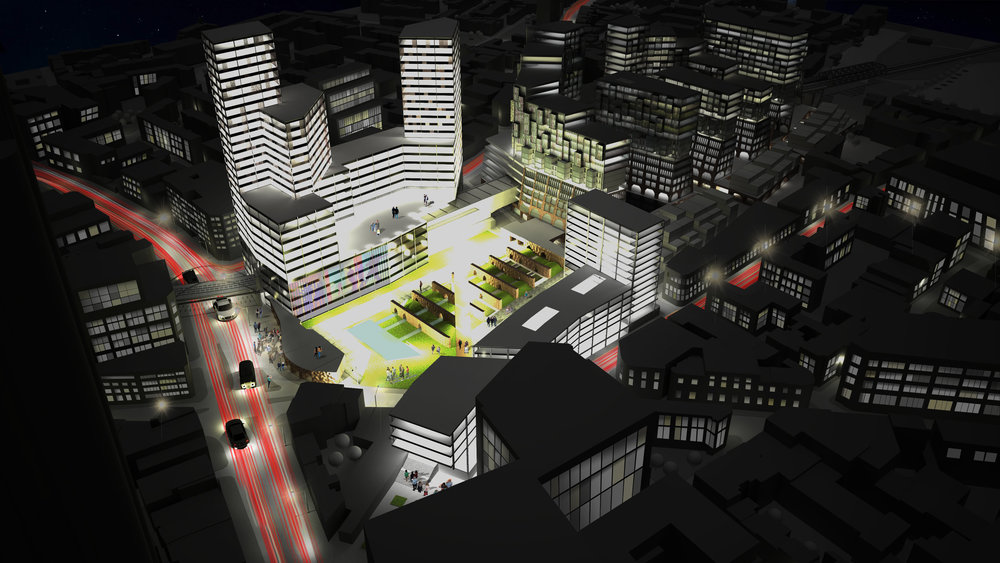 Aerial view of the mixed-use development of the Bishopsgate Goodsyard in London, UK