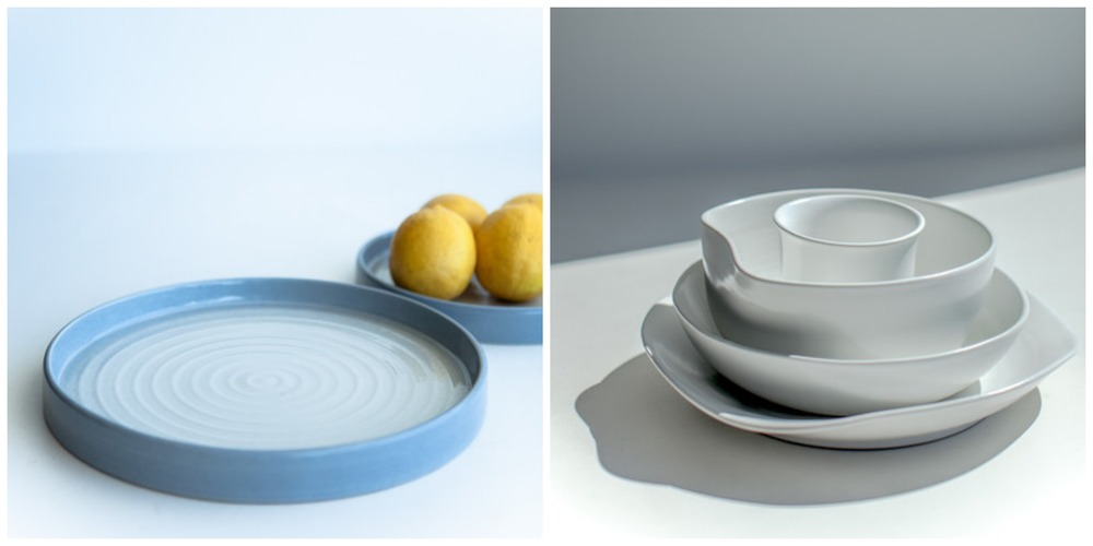 Dove Grey serving platter // Ivory organic bowls & plates.