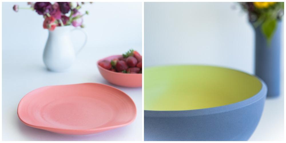 Coral organic large dinner plate // Lavender/Butter coloured sands large salad bowl.
