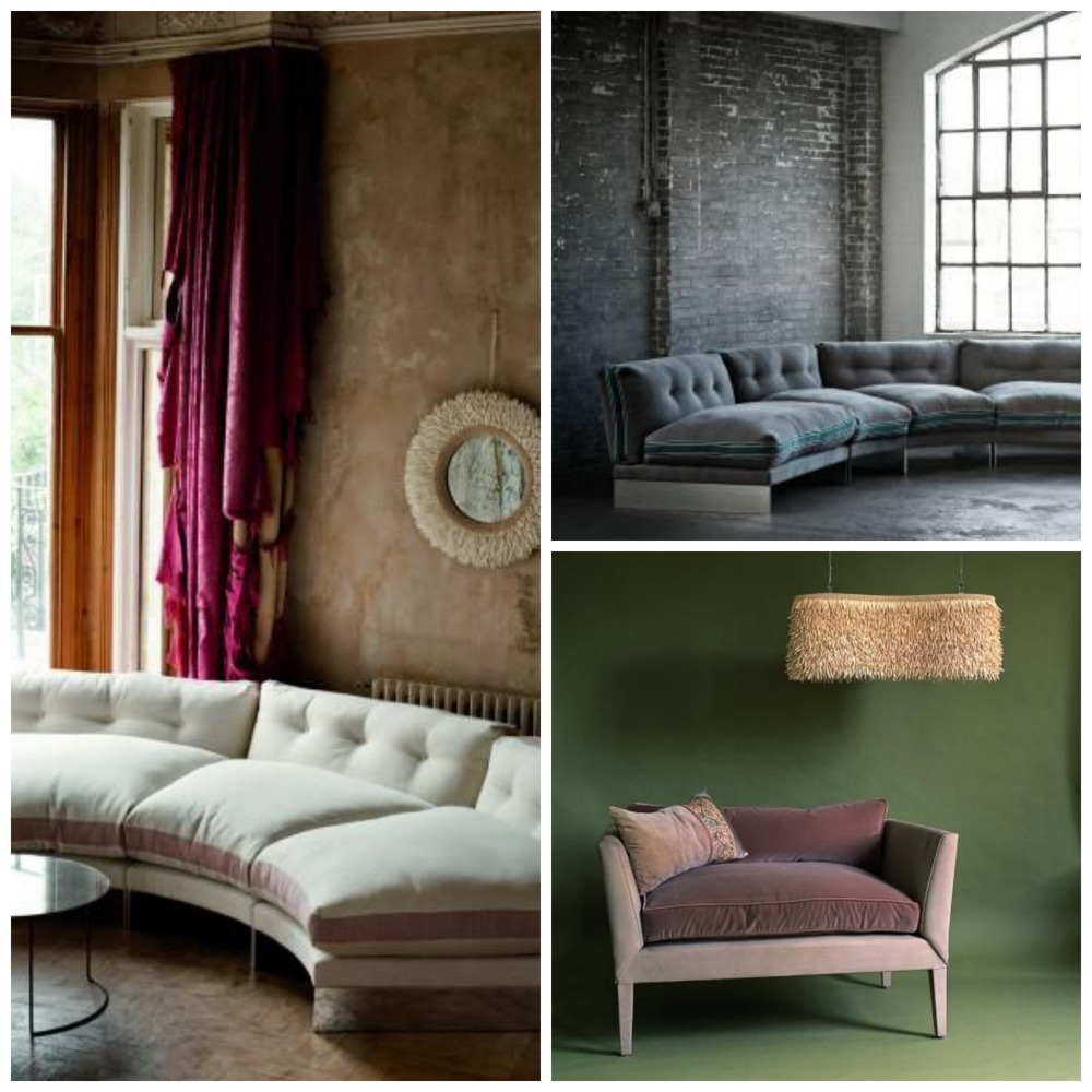 Luxurious upholstered furniture including the Eternal Dreamer Modular Sofa.