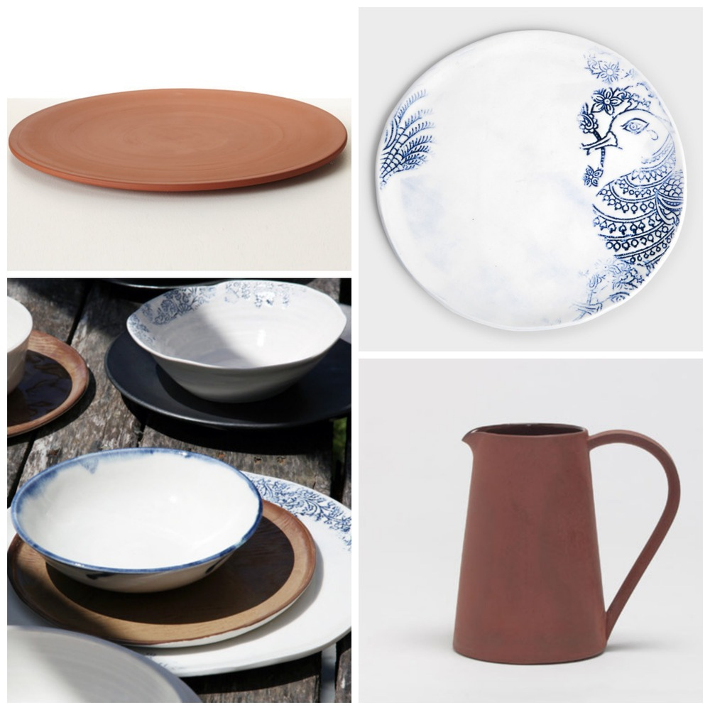 Clockwise from top left: 1 / Terracotta plate, Hub Furniture; 2 / Kashmir salad plate, DARA Artisans; 3 / Terracotta jug, Hub Furniture; 4 / Kashmir collection, DARA Artisans.