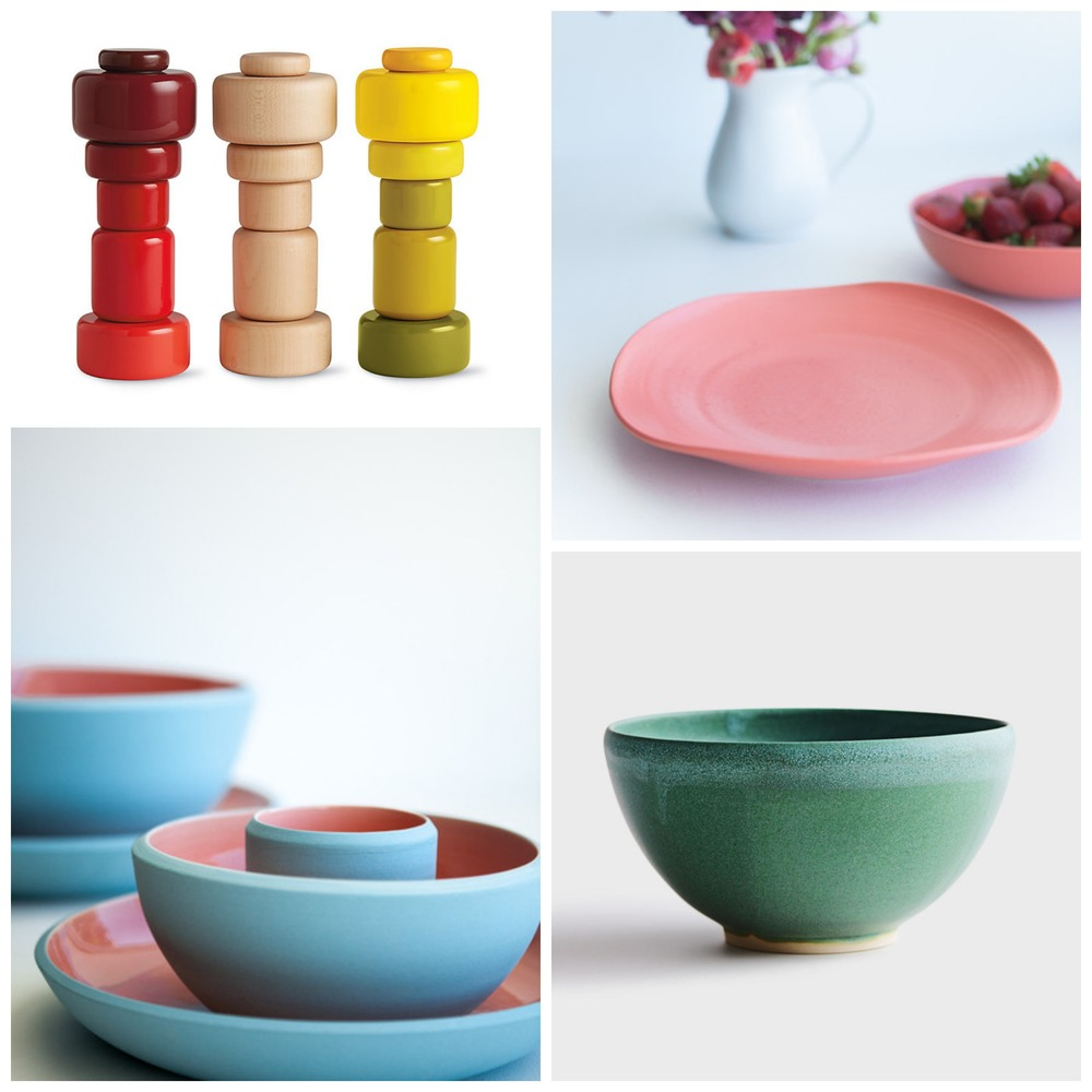 Clockwise from top left: 1 / Plus Grinder by Muuto, Design Within Reach; 2 / Organic dinner plate in Coral, Milly & Eugene; 3 / Emerald Turquoise bowl, DARA Artisans; 4 / Coloured Sands dinner set in SkyBlue/BabyPink, Milly & Eugene.