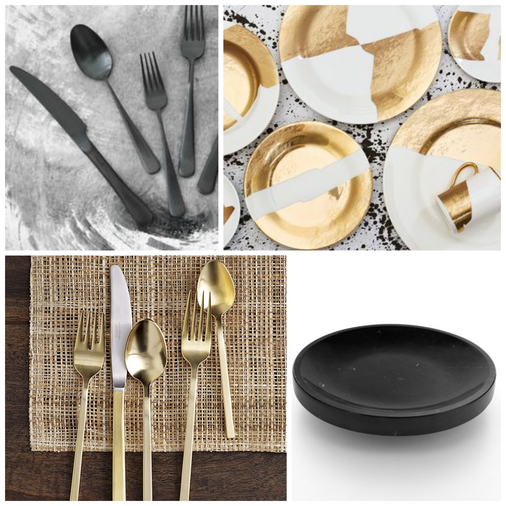 Clockwise from top left: 1 / Rexford flatware in gunmetal, Kelly Wearstler; 2 / Doheny dinner set, Kelly Wearstler; 3 / Mimma black marble fruit bowl, Hub Furniture; 4 / Gold cutlery 5-pc., West Elm.
