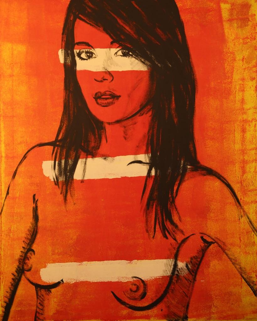 striped girl in orange