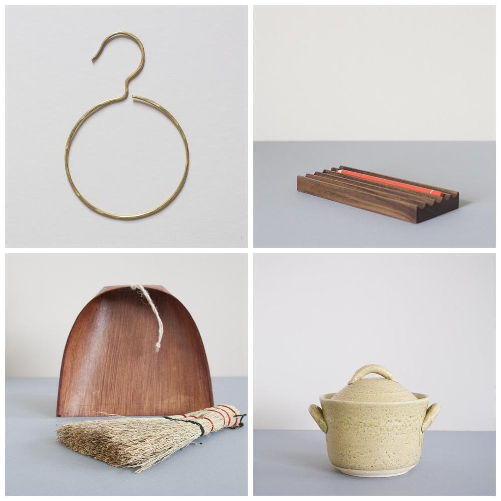 Clockwise from top left: 1 // towel hanger brass; 2 // black walnut pencil tray 3 // Cocel rice cooker mustard; 4 // Harimi dustpan and hand broom.