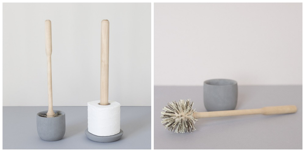 Toilet brush and stand + toilet roll holder.