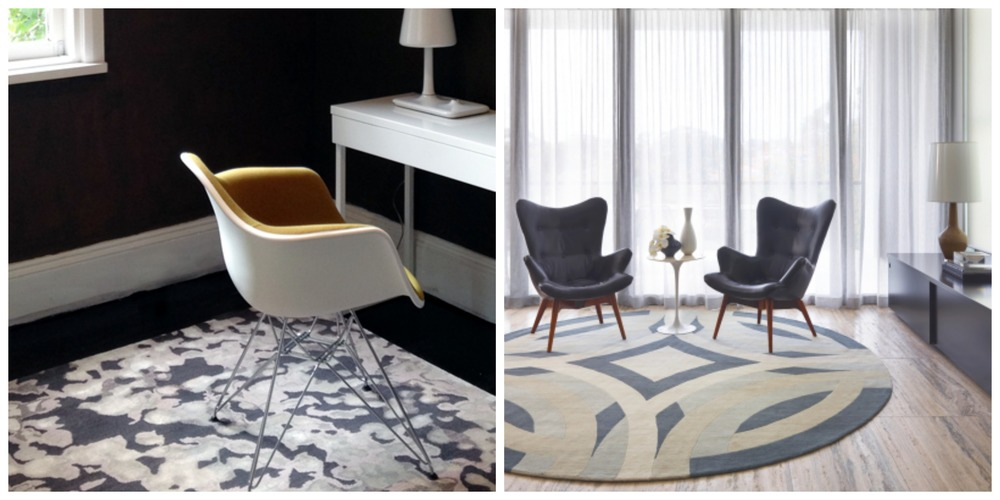 Designer Rugs: 1 / Storm by Anna Carin + 2 / Saint Tropez by Greg Natale.