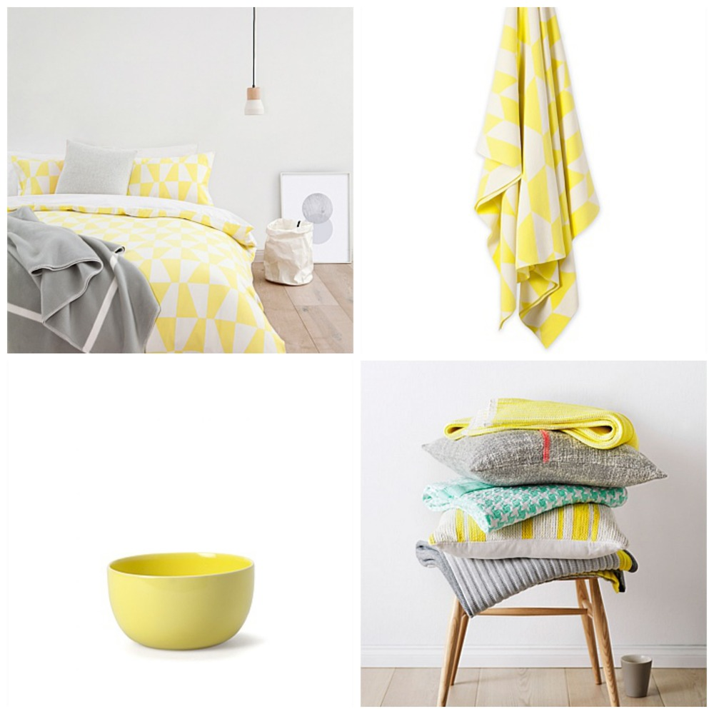Clockwise from top left: 1 | Aimi Quilt Cover; 2 | Freja Throw; 3 | Ando Cushion; 4 | Tapas Breakfast Bowl. All items from Country Road.