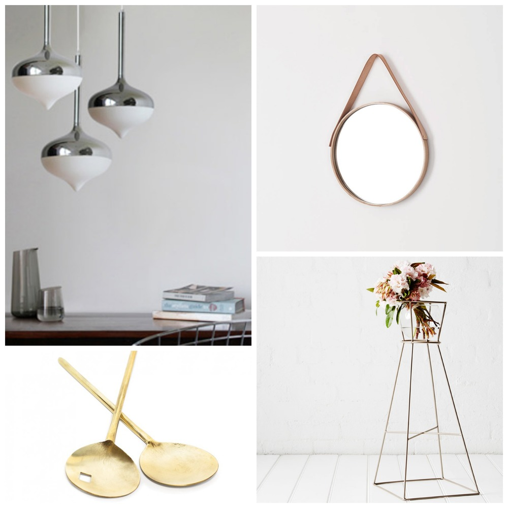 Clockwise from top left: 1 |Spun pendant in silver, Spence & Lyda; 2 | Oak Mirror by Douglas & Bec; 3 |Classic plant stand in Champagne by Ivy Muse; 4 | Brass Servers by Lightly.