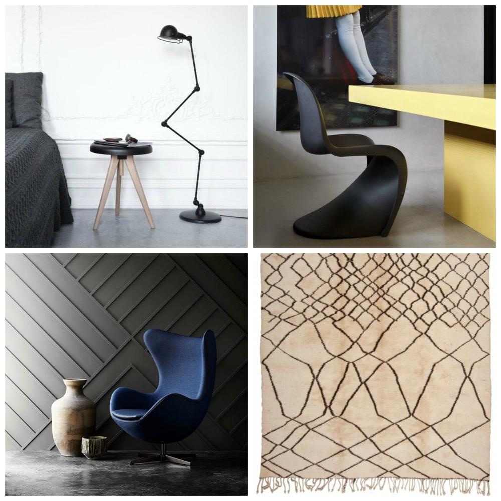 Designer Furniture clockwise from top left: 1//JIELDE floor lamp; 2// Vernon Panton chair; 3 // Berber rug;4// Arne Jacobsen Egg chair.