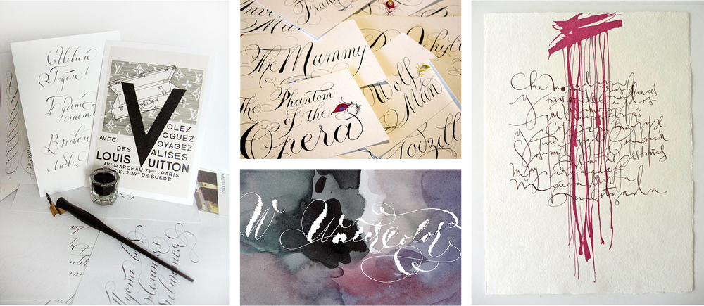 Other examples of gorgeous handwritten work that we will undoubtedly be stalking: Marina Marjina for Louis Vuitton (left and center bottom), Danae Blackburn-Hernandez (center top), and Silvia Cordero Vega (right).