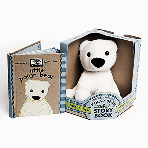 100% earth-friendly plush, endangered animals. Books printed on 100% recycled paper with soy ink. Teaches how to improve our environment.