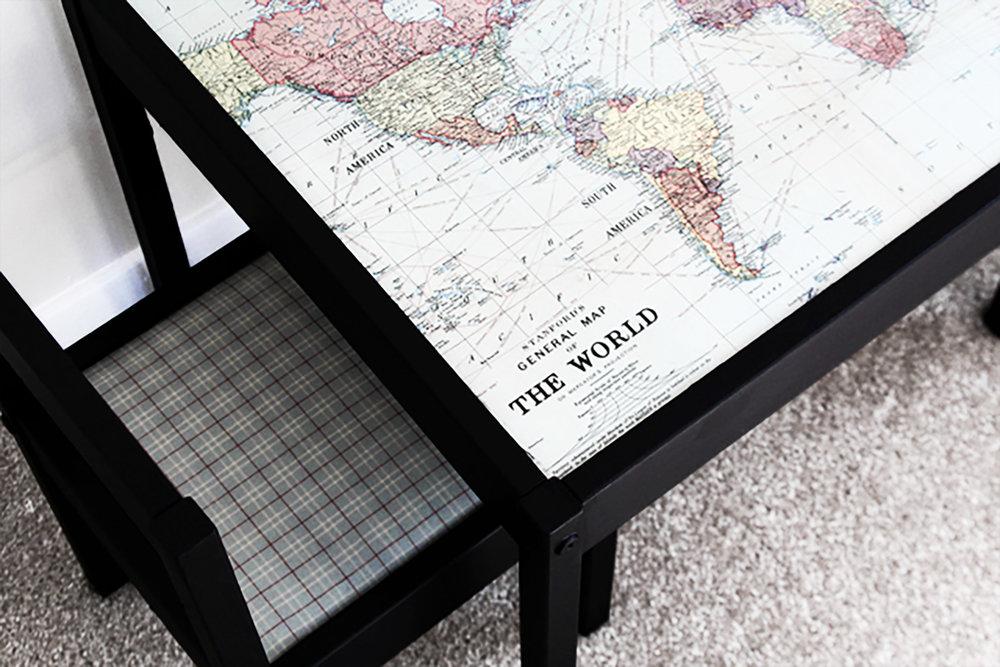 MINI TABLE - Children's Table + Elmer's Glue + Paintbrush + Wallpaper or World Map