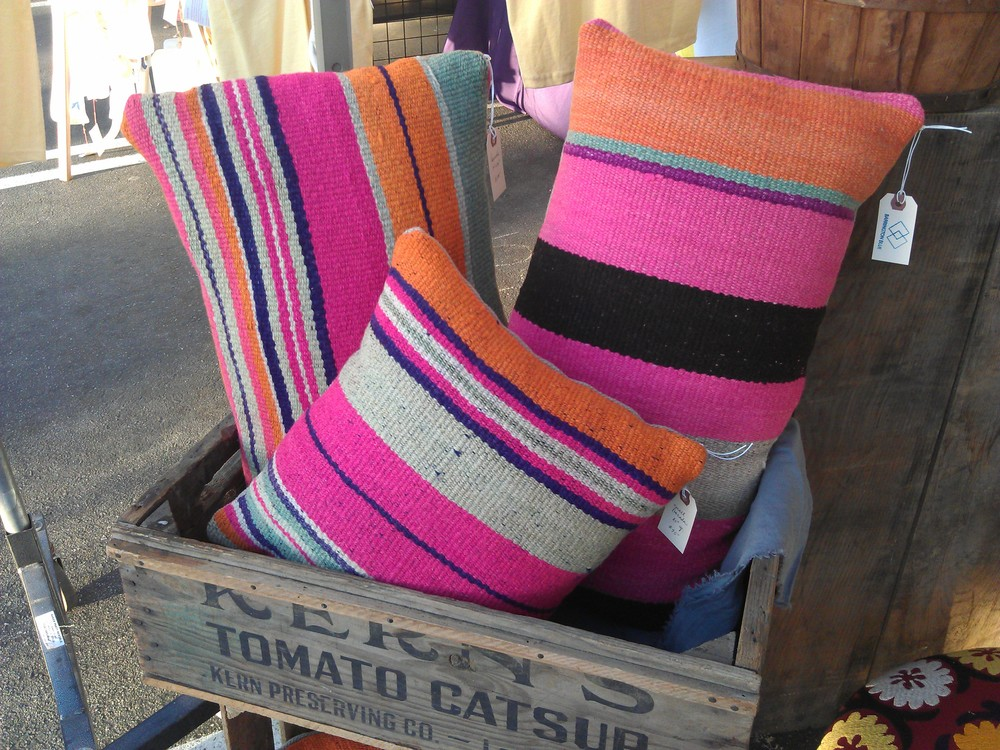 Pillows sold via Barrington Blue Textiles turned pillows...love the pink stripes!