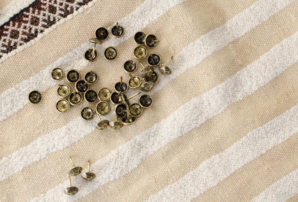 DIY Linen Bulletin Board Den Mother Christie Cook hammered nailheads