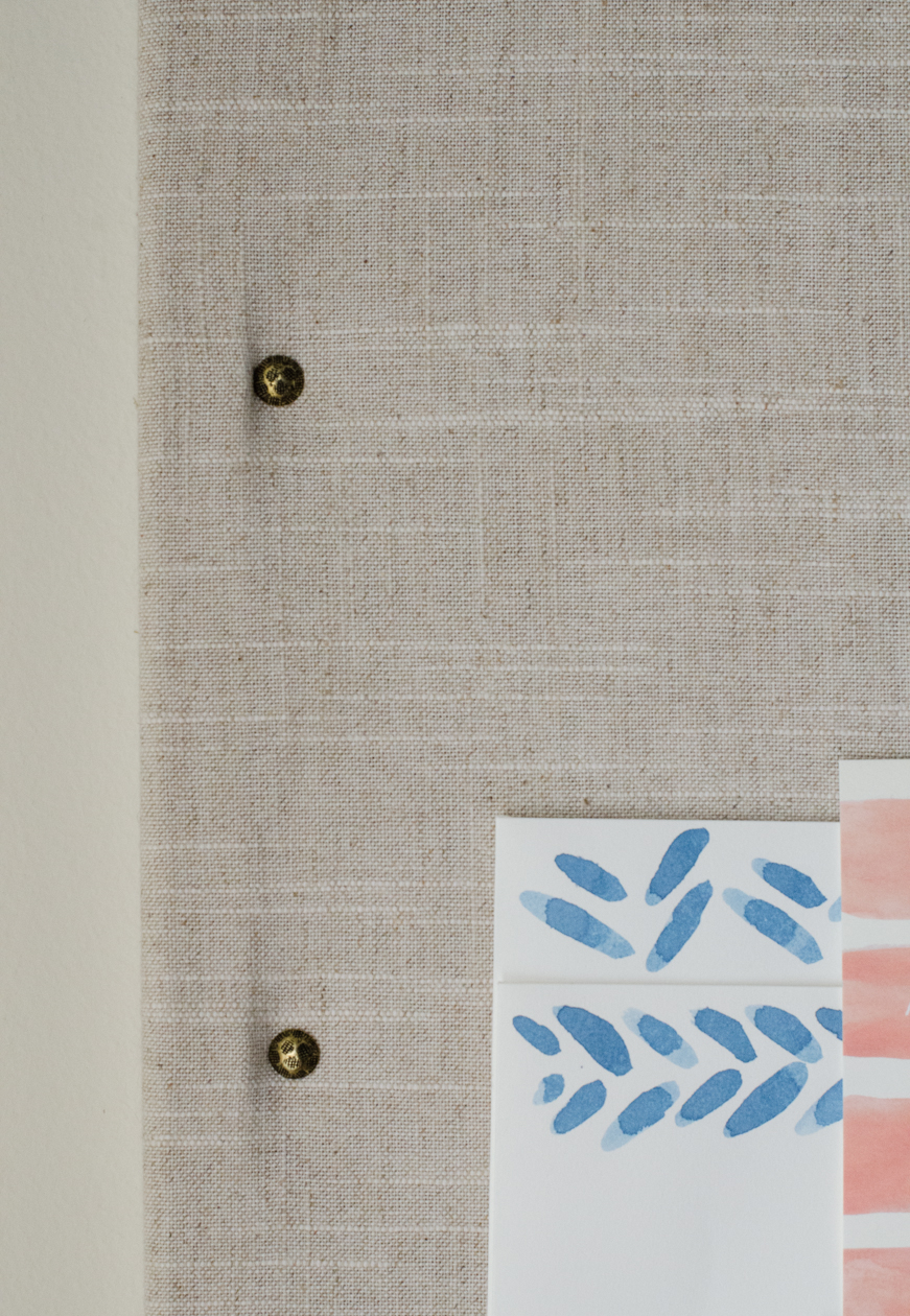 DIY Linen Bulletin Board Den Mother Christie Cook closeup nailhead trim 2