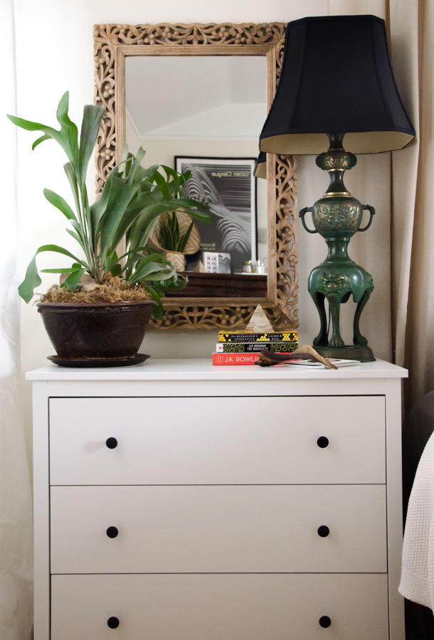 Den mother bedroom design challenge dresser nightstand staghorn fern