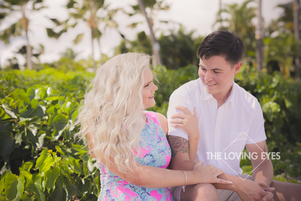 Engagement photo session on the beach at Waialae Beach Park