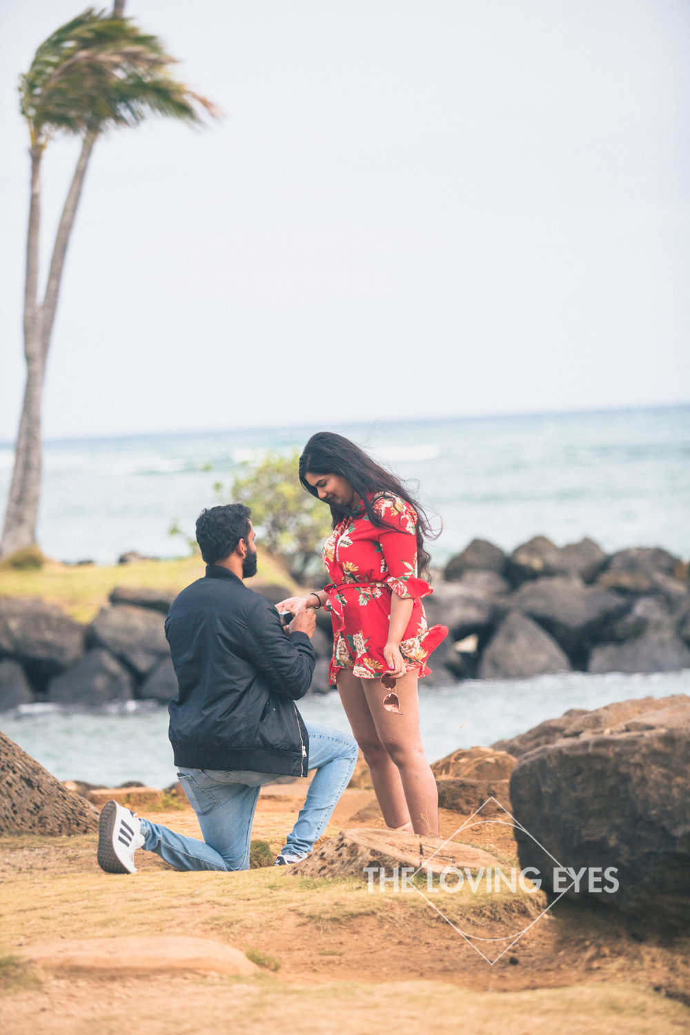 Proposal photography at Waialae Beach Park while on vacation in Hawaii