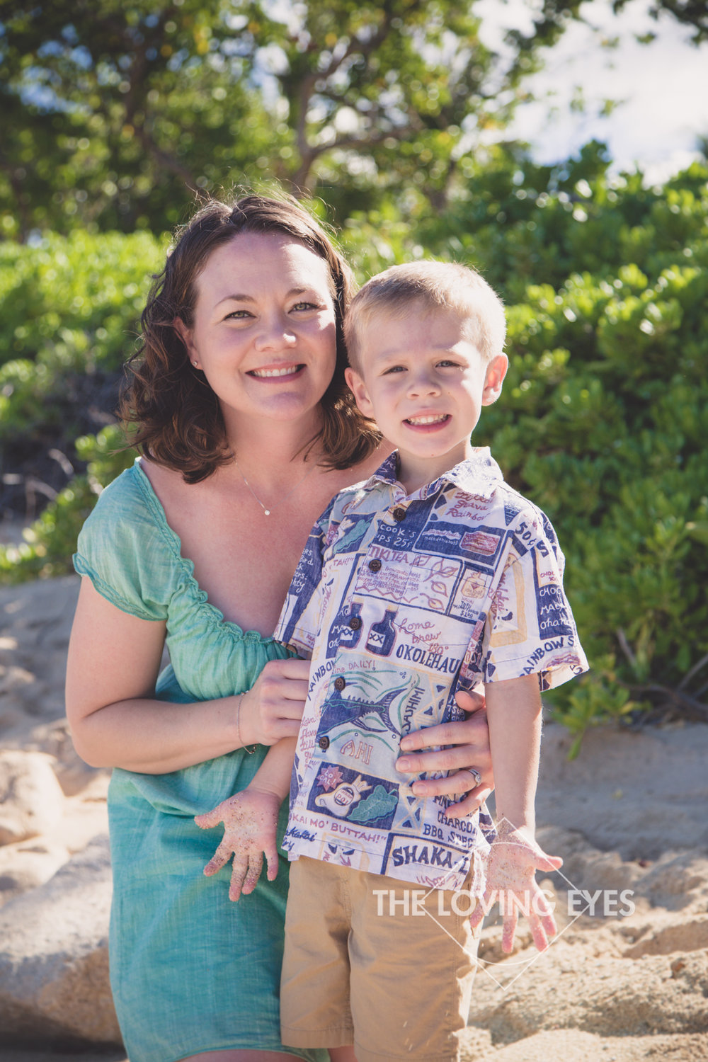 Mother and son portrait on the beach in Ko Olina
