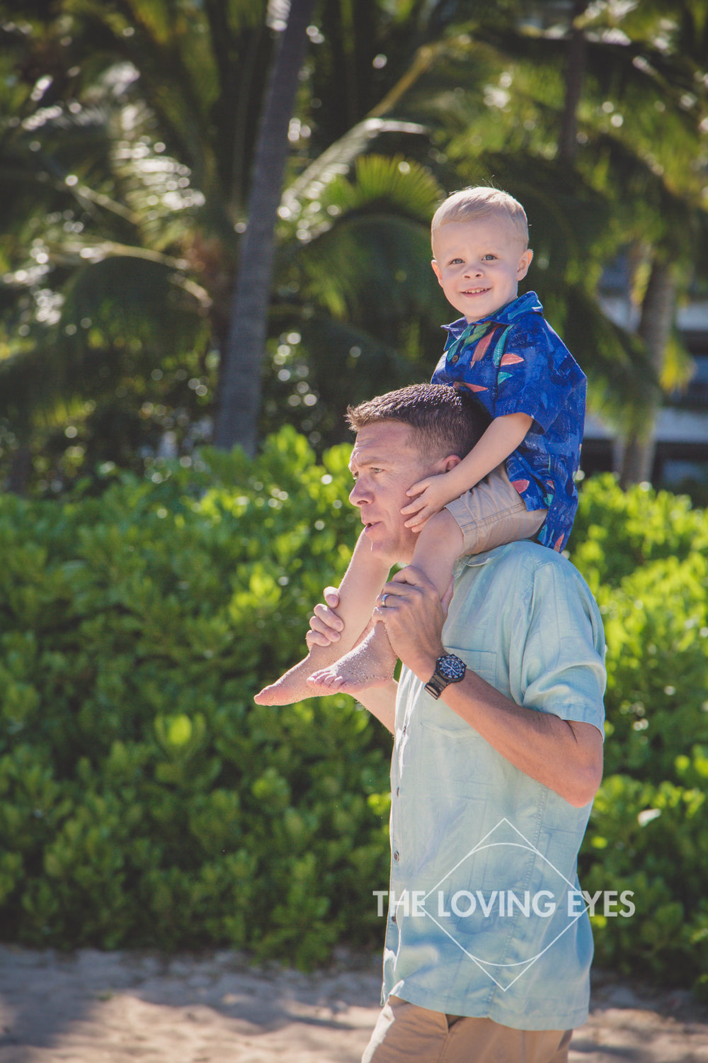 Father and son portrait in Hawaii on the beach in Ko Olina