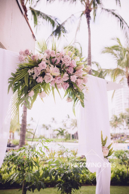 Hawaiian floral arrangement for wedding arch at Waikiki wedding ceremony in Hawaii