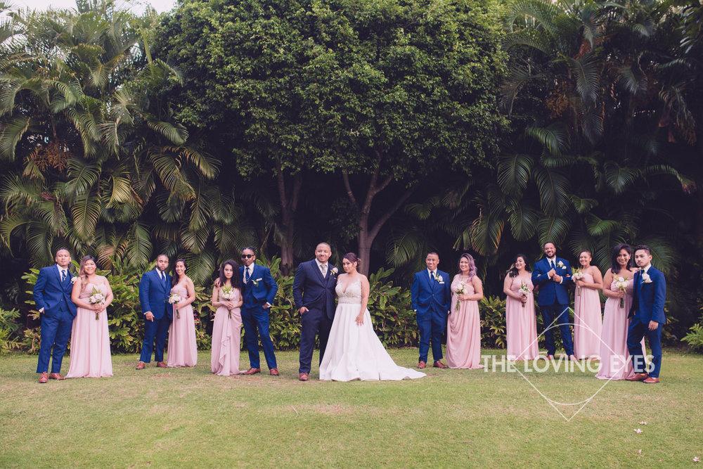 Bridal party on wedding day at Hilton Hawaiian Village Rainbow Suite in Waikiki