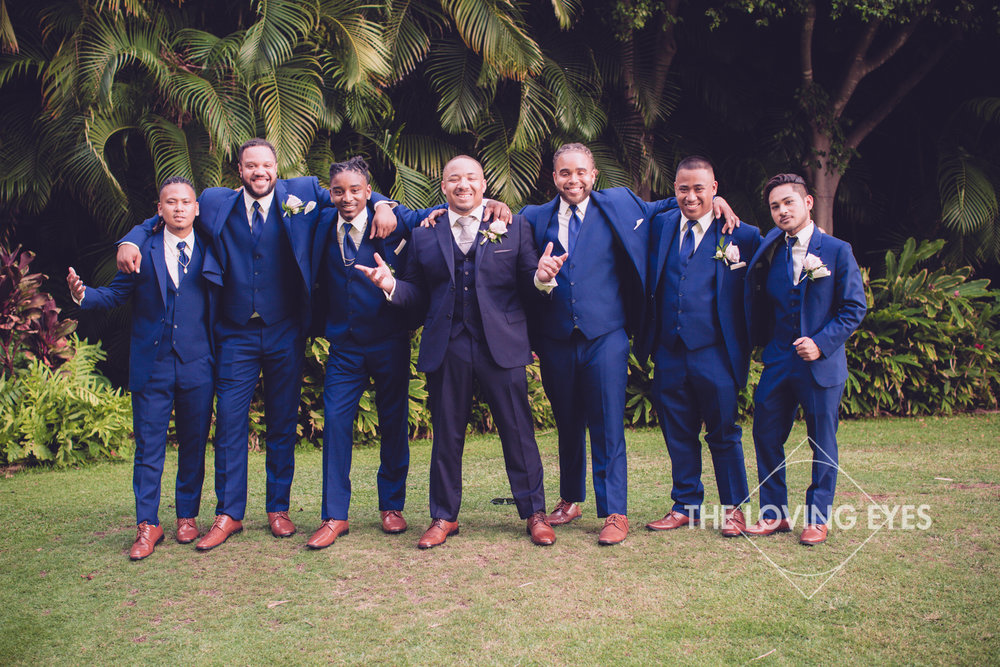 Groom and Groomsmen on wedding day at Hilton Hawaiian Village Rainbow Suite in Waikiki