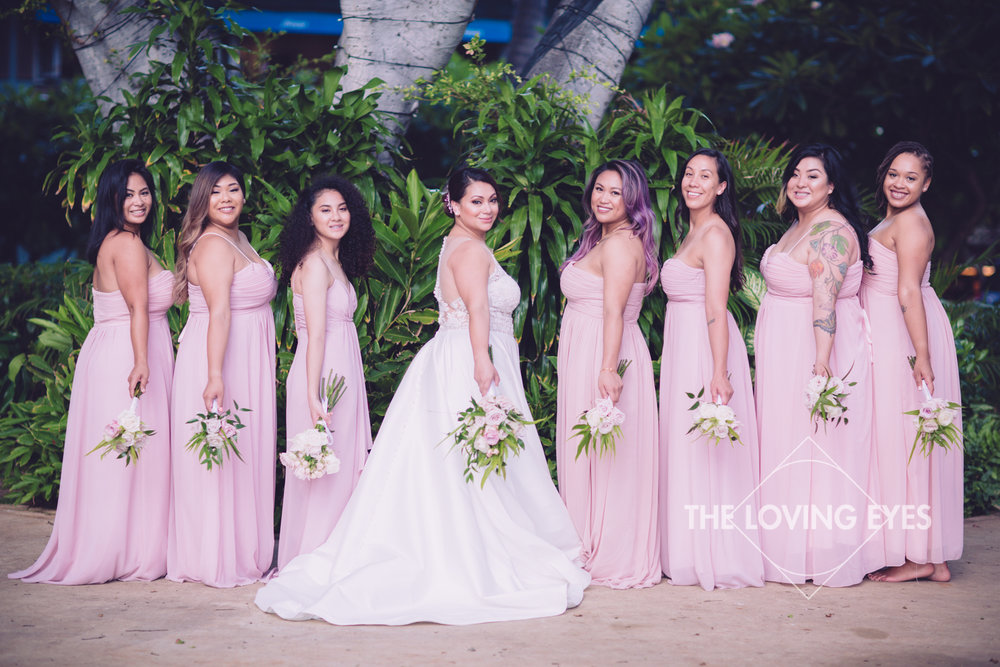 Bride and Bridesmaids on wedding day at Hilton Hawaiian Village Rainbow Suite in Waikiki