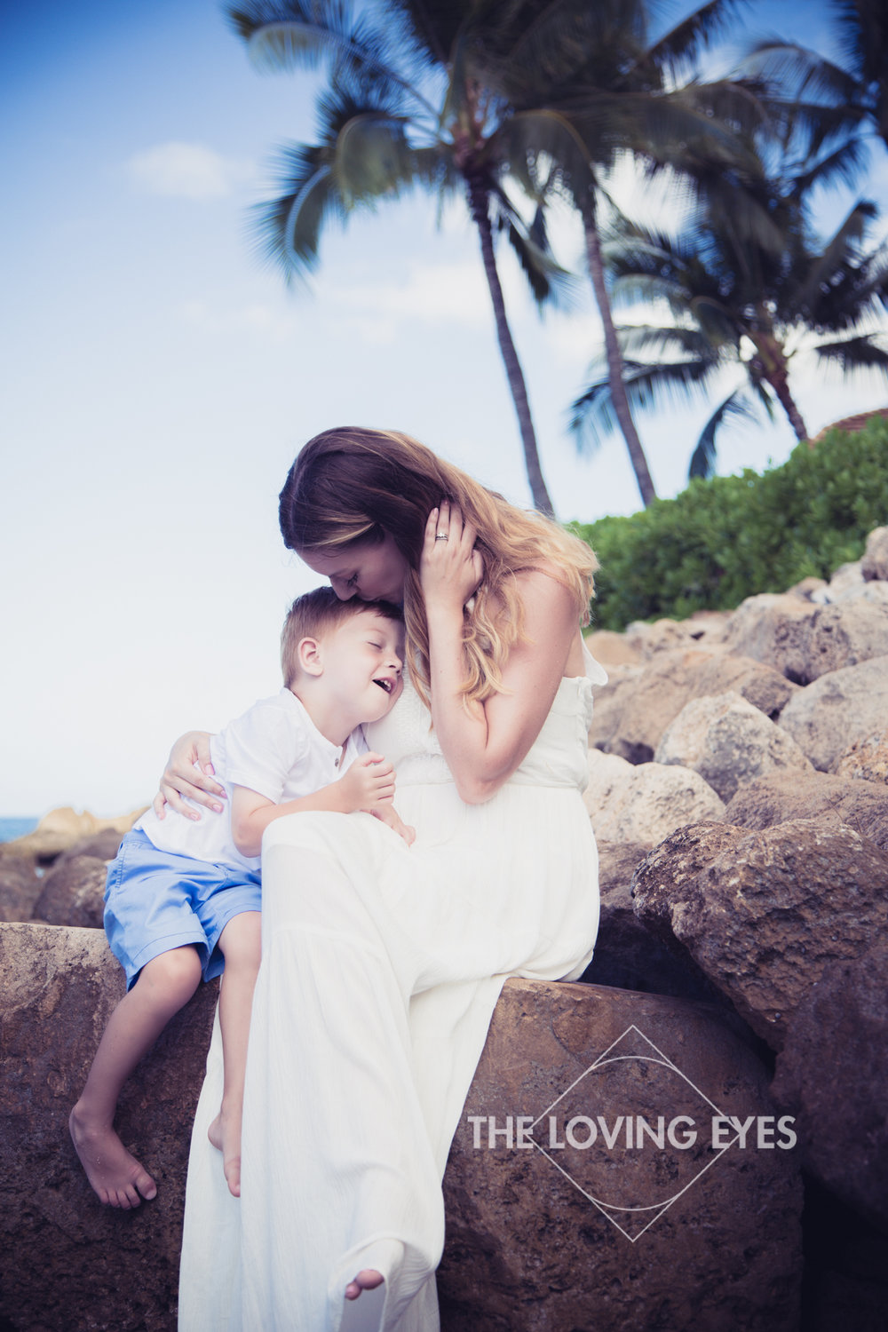 Mother and son photo while on vacation on the beach in Hawaii