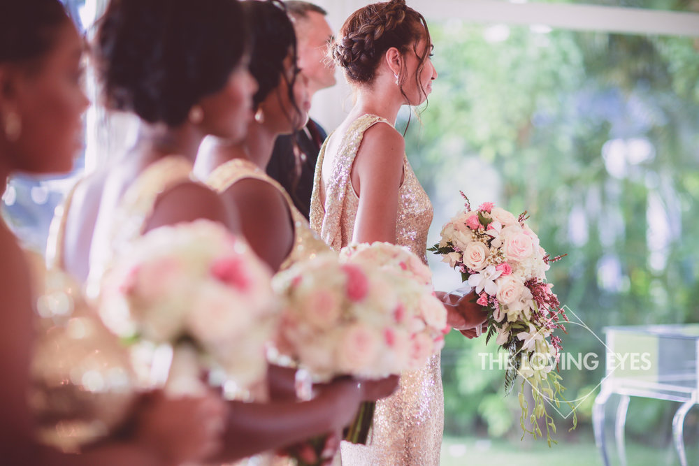 Bridal party during the wedding ceremony at the Hanalani Chapel in Hawaii