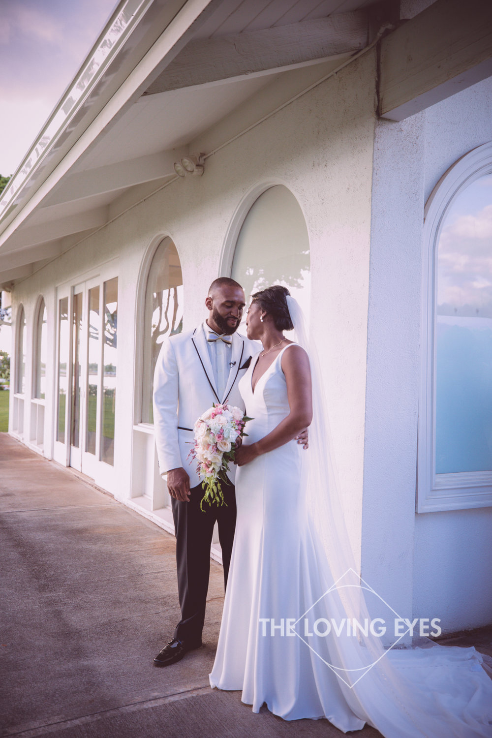 Bride and groom on their wedding day at the Hanalani Chapel in Hawaii