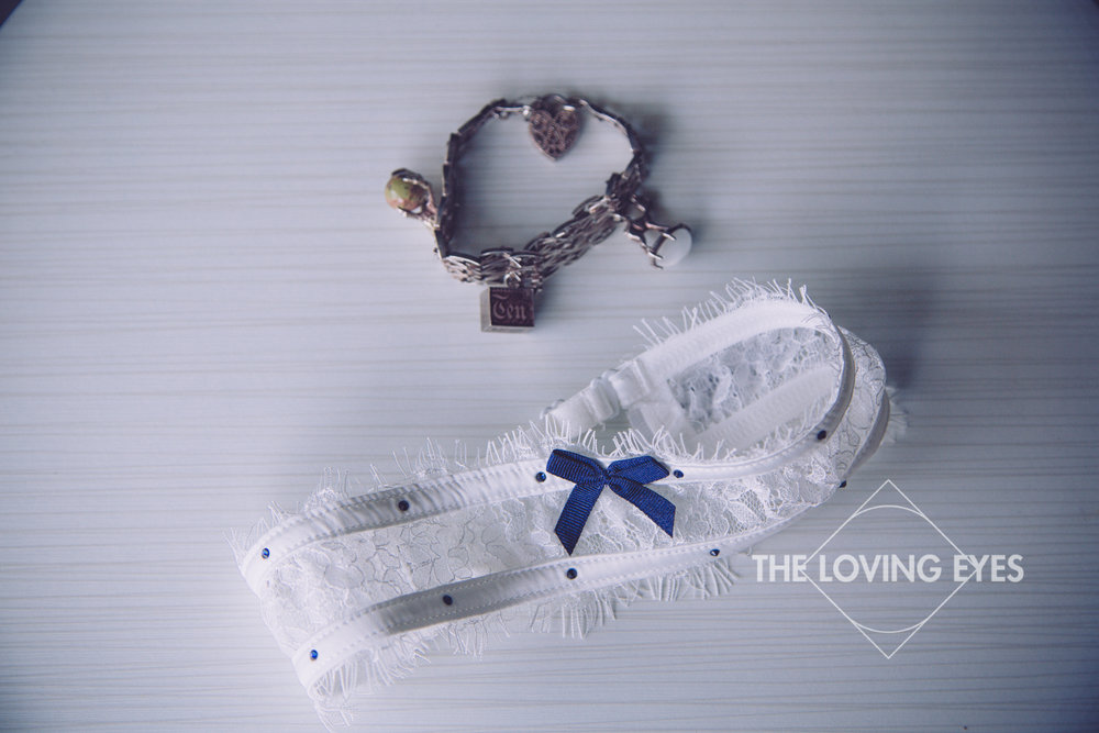Garter belt and heirloom jewelry for wedding ceremony