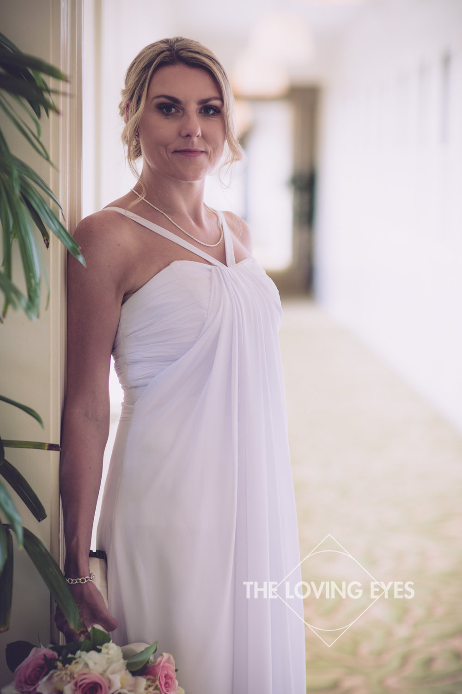 Bridal portrait on her wedding day at the Moana Surfrider in Waikiki