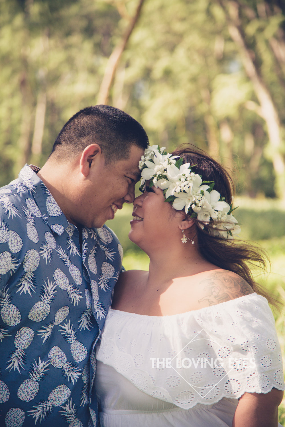 Engagement photos in a forest in Waimanalo in Hawaii