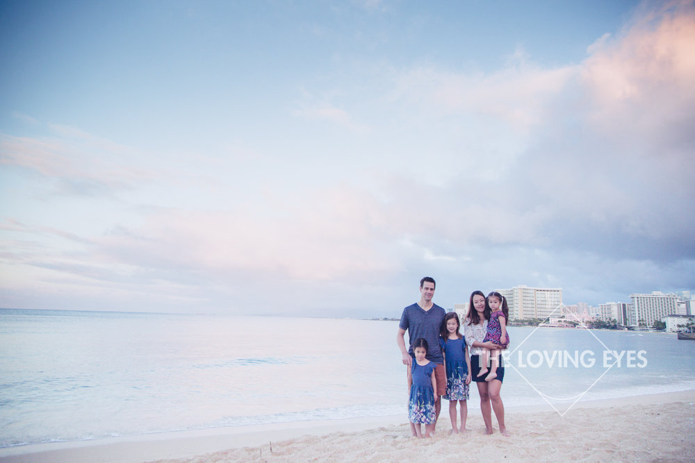 Family vacation photo on Waikiki Beach
