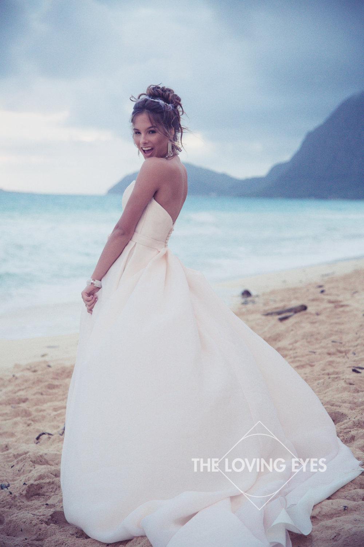 Quincennera photo at Waimanalo Beach in Hawaii