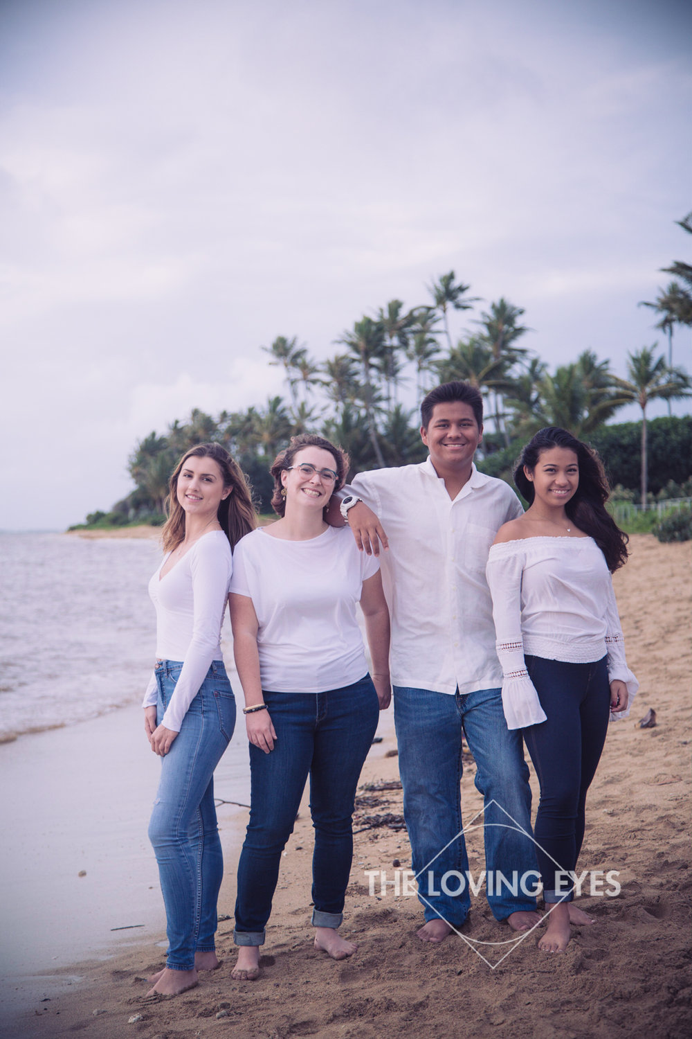 Family portrait on the beach in Hawaii